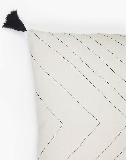 Anchal® Organic Cotton Geometric Tassel Throw Pillow in ivory white image 2
