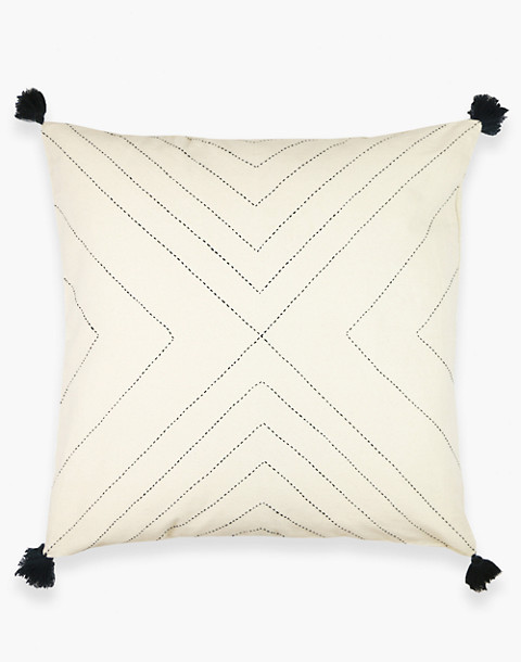 Anchal® Organic Cotton Geometric Tassel Throw Pillow in ivory white image 3