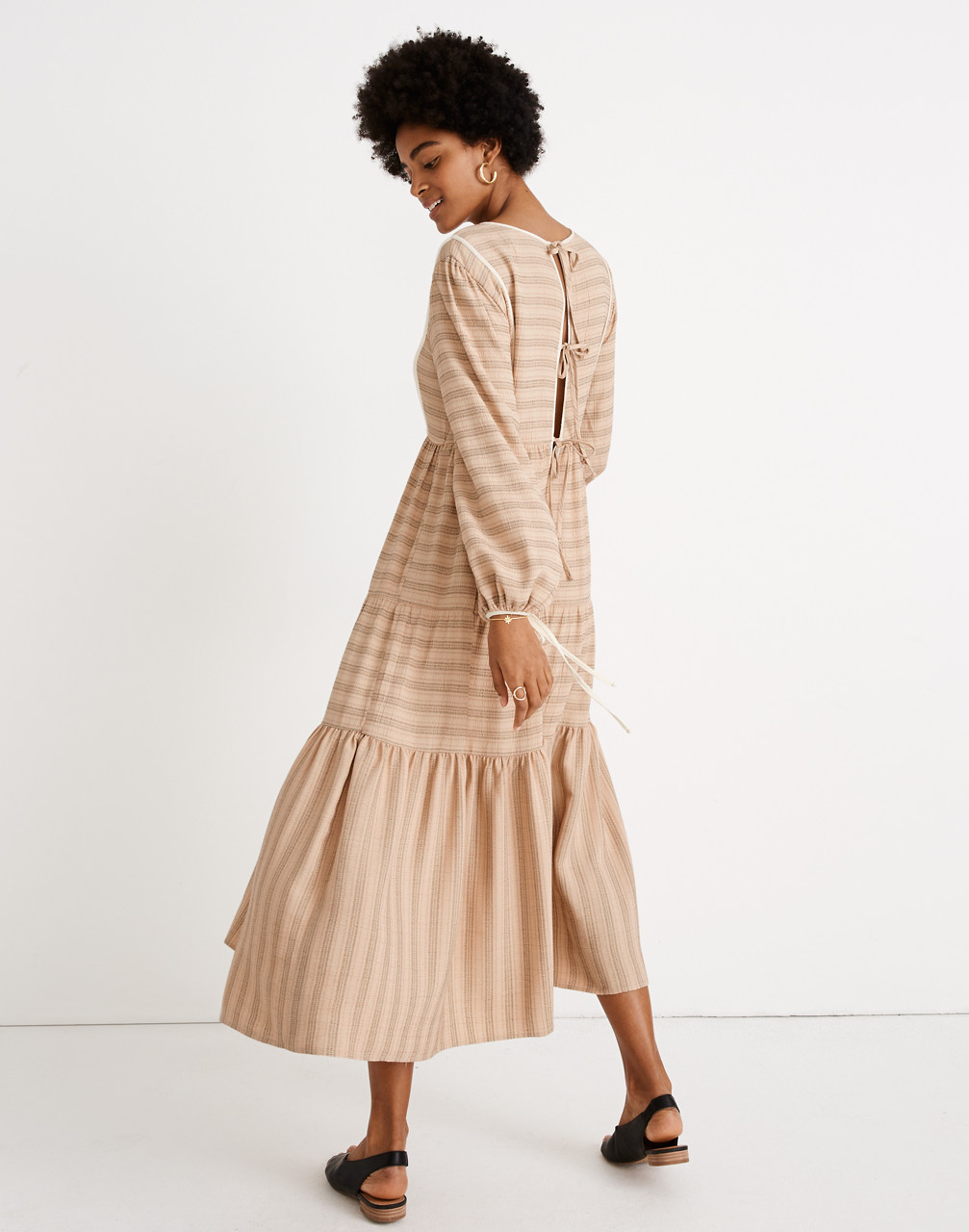 Cottagecore Dresses Aesthetic, Granny, Vintage Madewell x Christy Dawn Striped Tallulah Tie-Back Midi Dress $238.00 AT vintagedancer.com