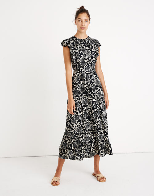 Madewell X Christy Dawn® Quinn Ruffled Midi Dress In Midnight Posy by Madewell