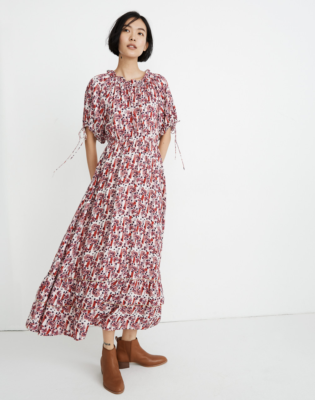 1980s Clothing, Fashion | 80s Style Clothes Warm Geranium Maxi Dress $199.99 AT vintagedancer.com