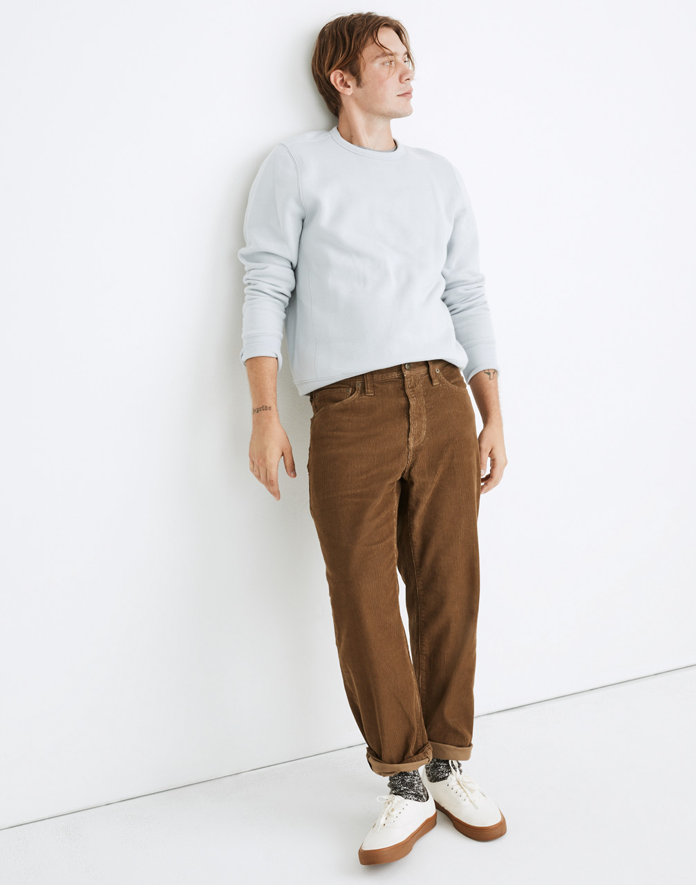 1930s Mens High Waisted Pants, Wide Leg Trousers Relaxed Straight Corduroy Jeans $99.50 AT vintagedancer.com