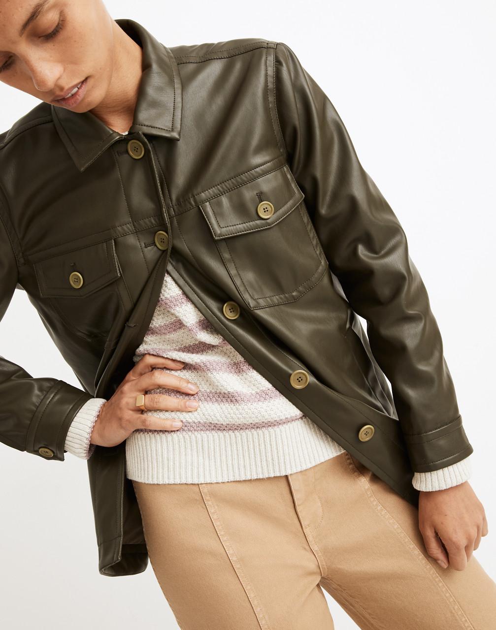 70s Jackets, Furs, Vests, Ponchos Vegan Leather Chore Jacket $198.00 AT vintagedancer.com