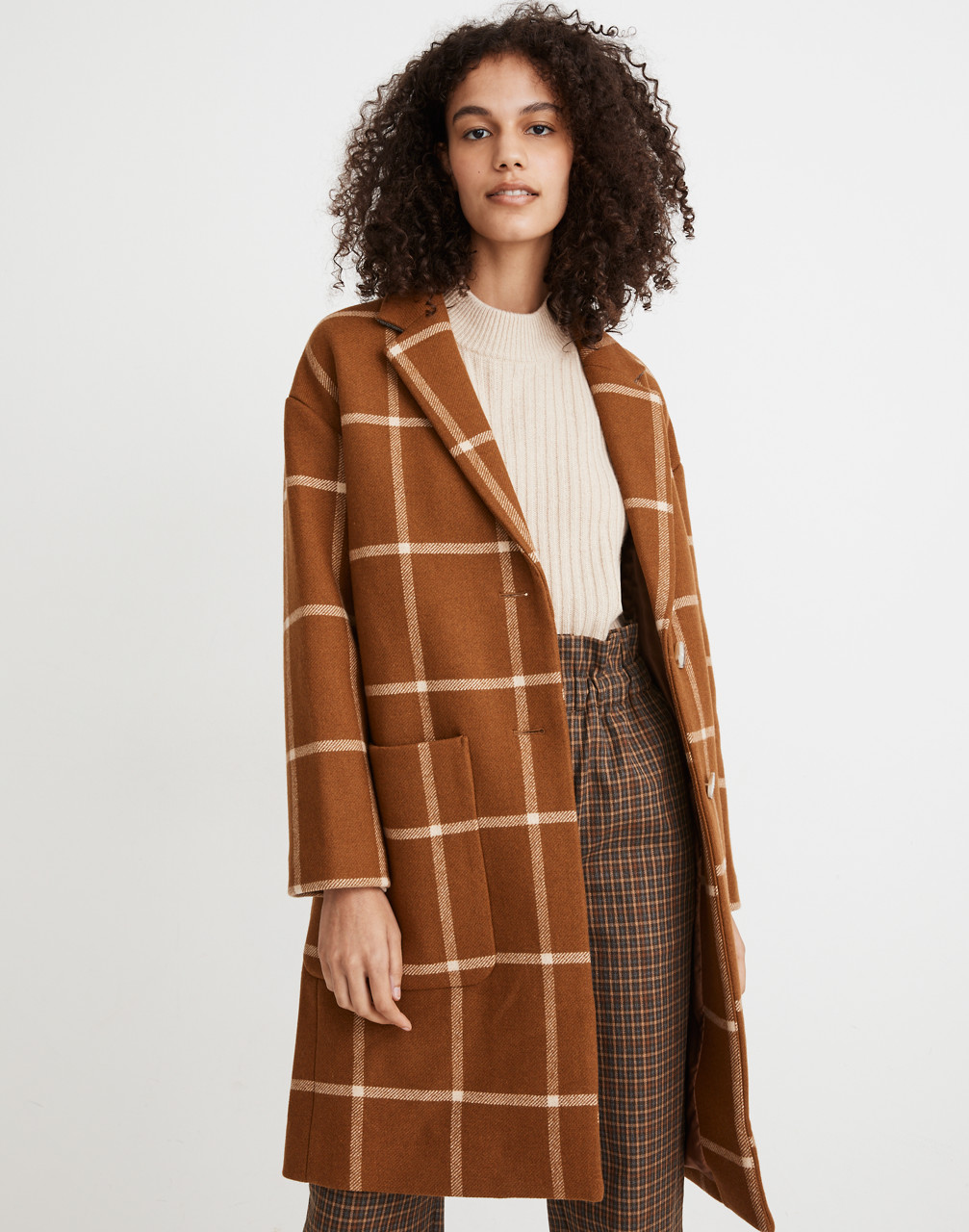 70s Jackets, Furs, Vests, Ponchos Windowpane Elmcourt Coat in Insuluxe Fabric $288.00 AT vintagedancer.com