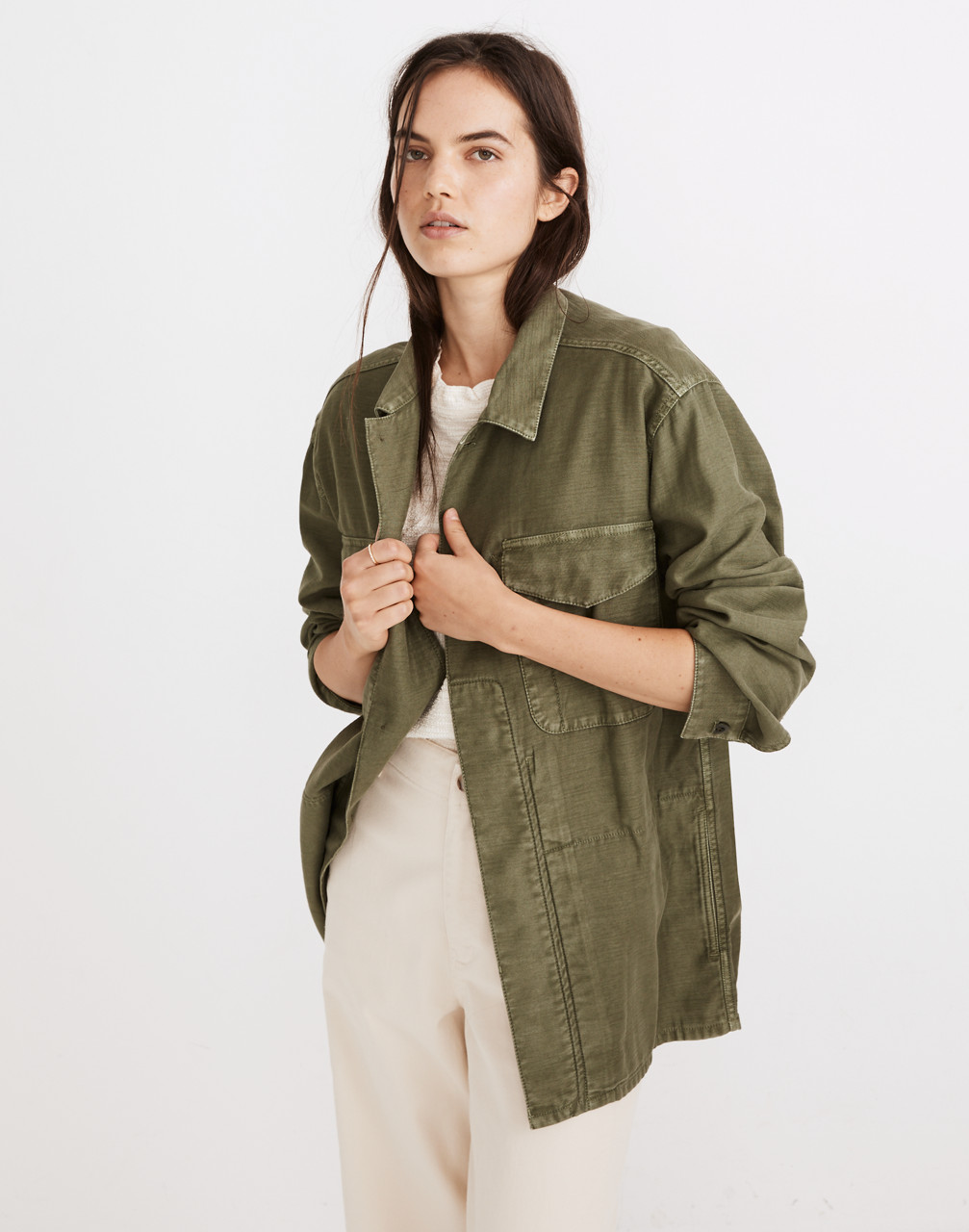 1980s Clothing, Fashion | 80s Style Clothes Military Shirt Jacket $138.00 AT vintagedancer.com