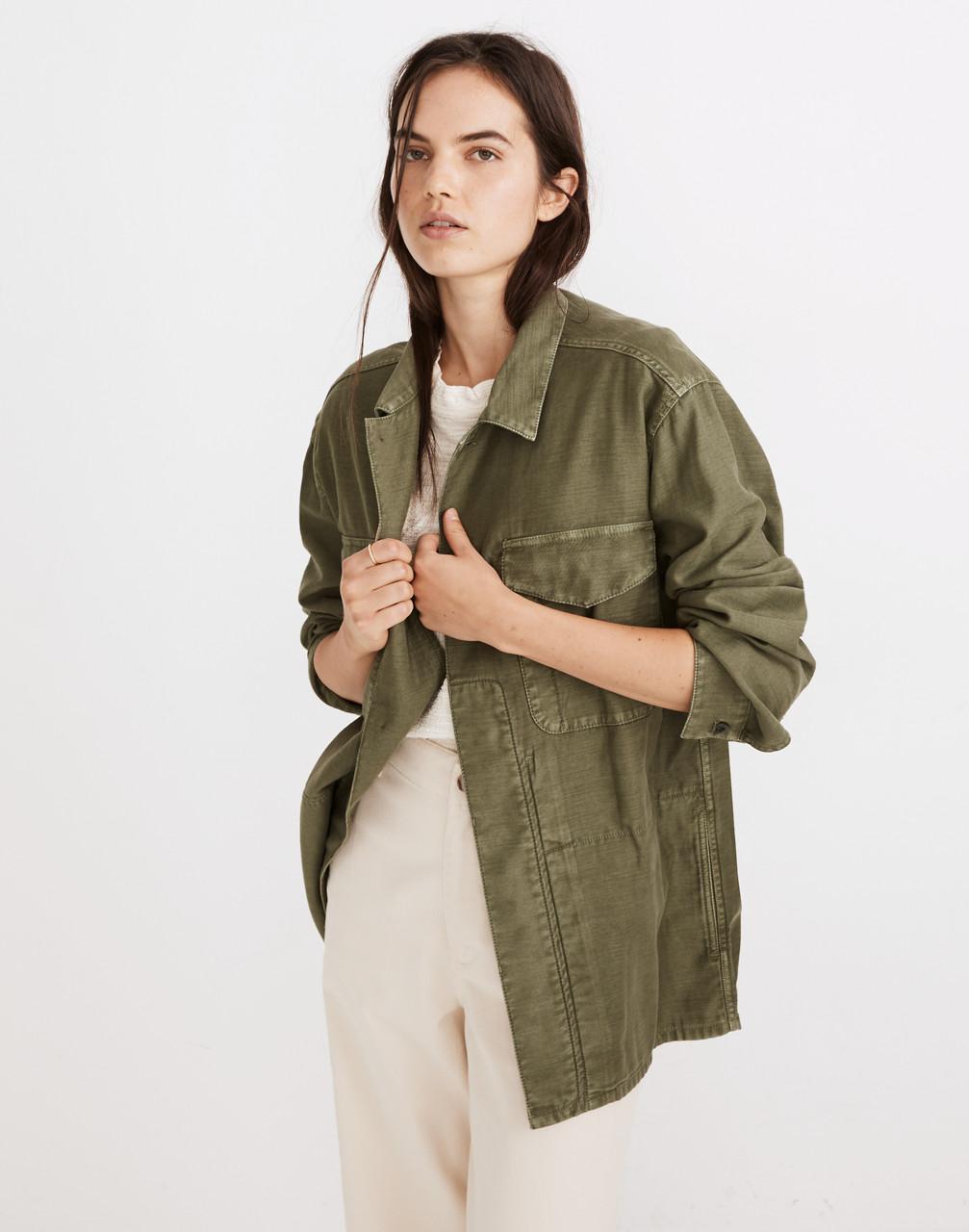 80s Windbreakers, Jackets, Coats Military Shirt Jacket $138.00 AT vintagedancer.com