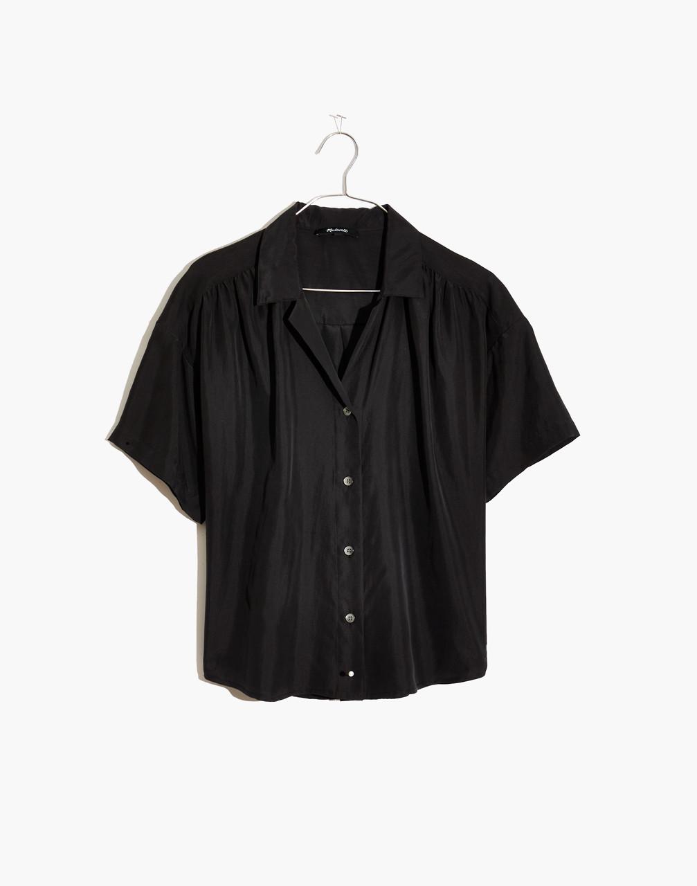 1940s Blouses, Shirts and Tops Fashion History Silk Camp Shirt $110.00 AT vintagedancer.com