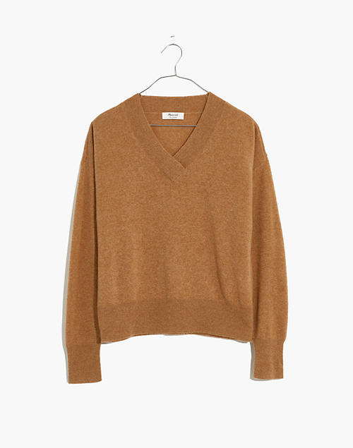 Cashmere V-Neck Sweater in heather toast image 4