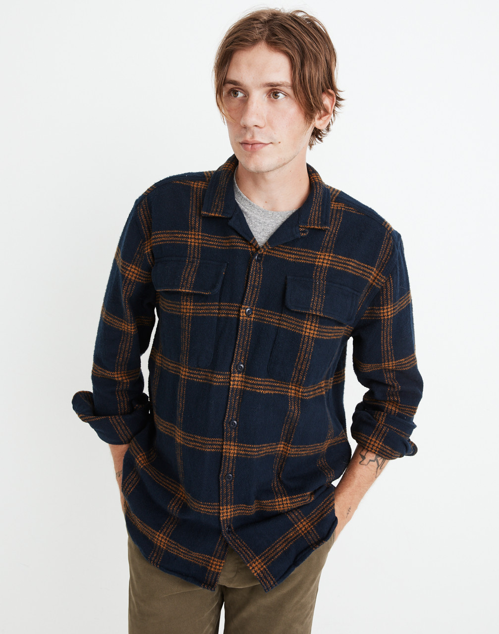 Men's Vintage Workwear Inspired Clothing Flannel Easy Long-Sleeve Camp Shirt in Windowpane $98.00 AT vintagedancer.com