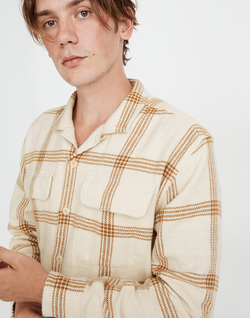 Mens Vintage Shirts – Casual, Dress, T-shirts, Polos Flannel Easy Long-Sleeve Camp Shirt in Windowpane $98.00 AT vintagedancer.com