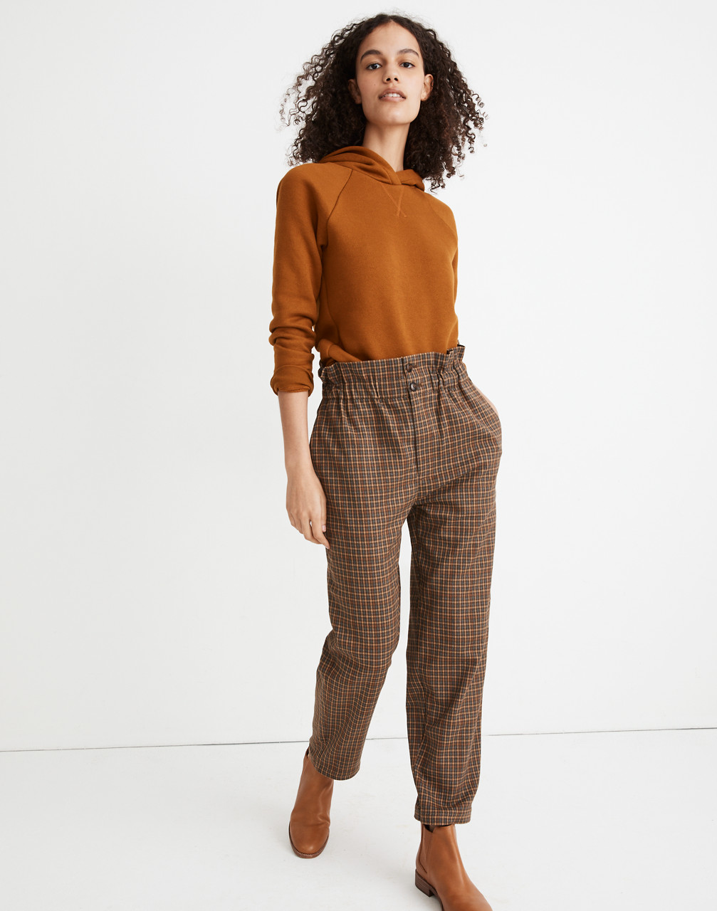Cottagecore Clothing, Soft Aesthetic Plaid Paperbag Tapered Pants $69.99 AT vintagedancer.com