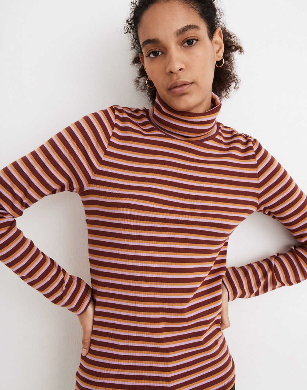 60s Shirts, T-shirts, Blouses, Hippie Shirts Ribbed Turtleneck Top in Chilton Stripe $26.99 AT vintagedancer.com