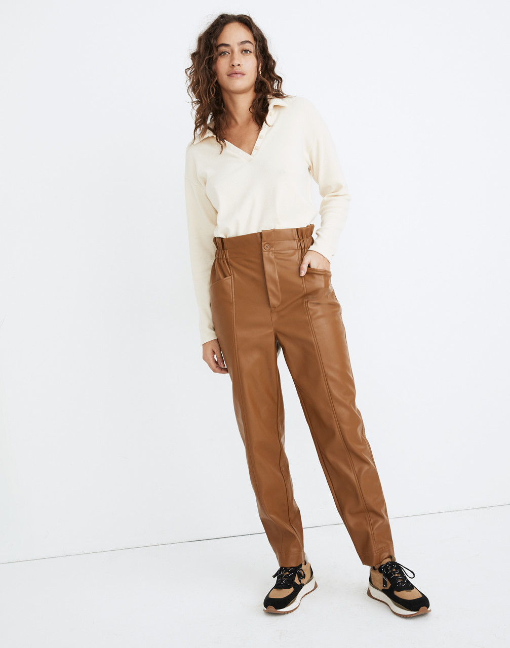 Hippie Pants, Jeans, Bell Bottoms, Palazzo, Yoga Vegan Leather Pull-On Paperbag Pants $138.00 AT vintagedancer.com