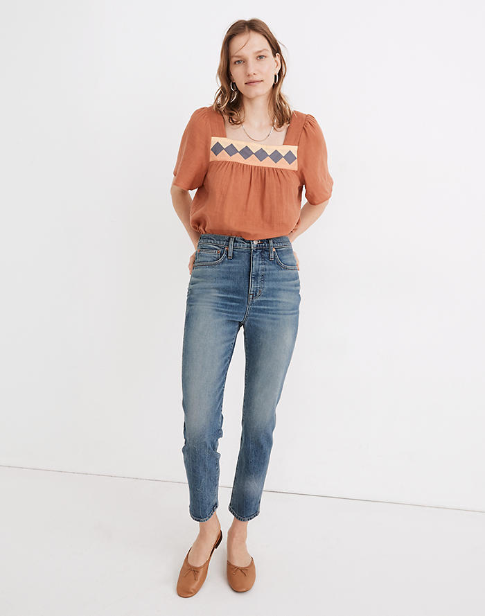 Madewell Rivet & Thread High-Rise Stovepipe Jeans in Keyes Wash