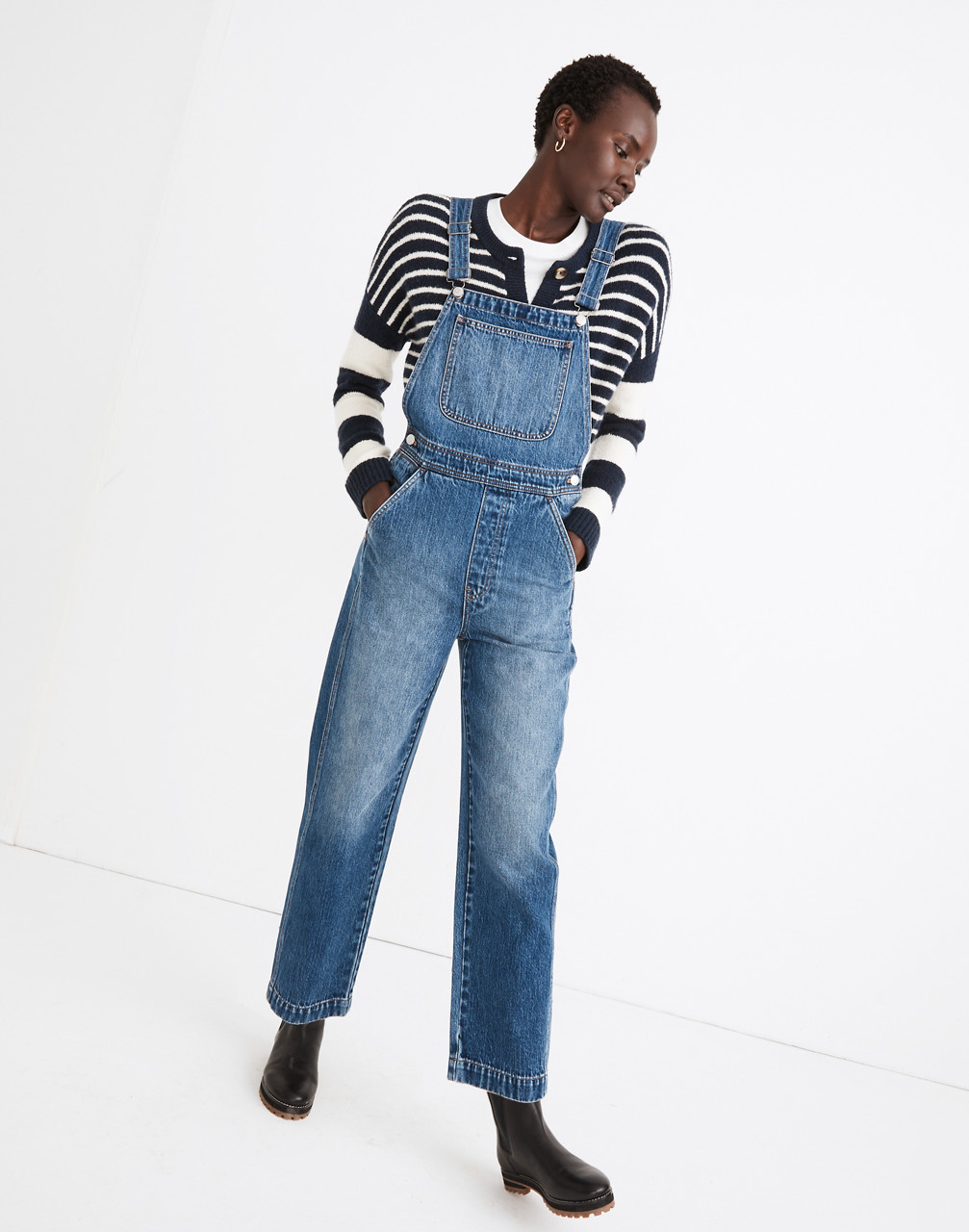 1980s Clothing, Fashion | 80s Style Clothes Relaxed Overalls in Irwell Wash $148.00 AT vintagedancer.com