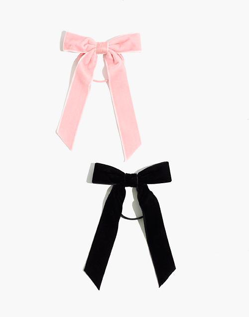 Two-Pack Velvet Bow Hair Elastic in true black multi image 1