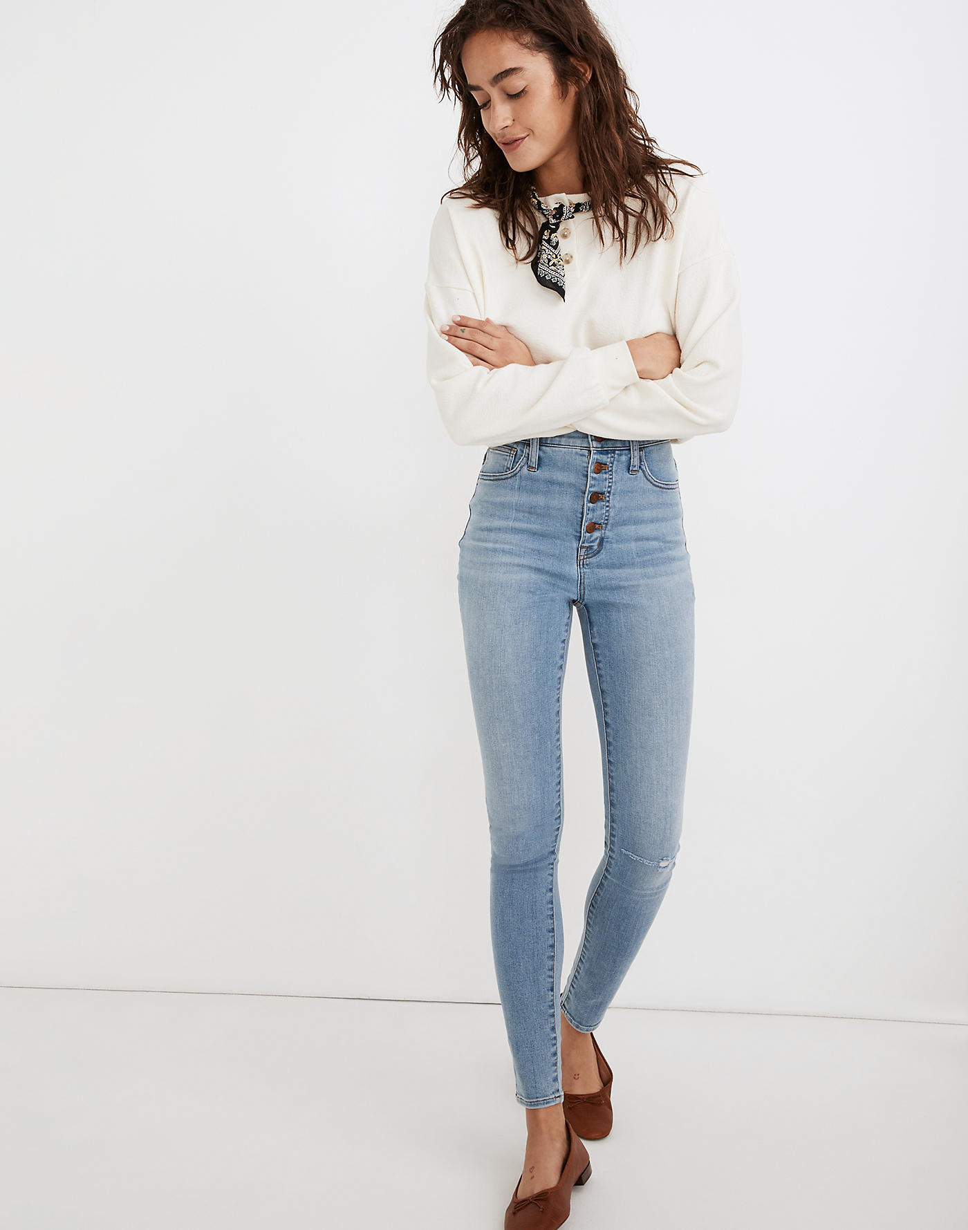 Madewell 11 High-Rise Roadtripper Jeans in Beckwith Wash: Button-Front Edition