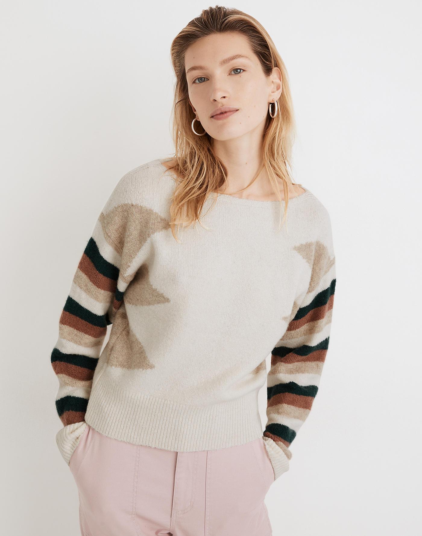 Madewell Stripe-Sleeve Geo Pullover Sweater