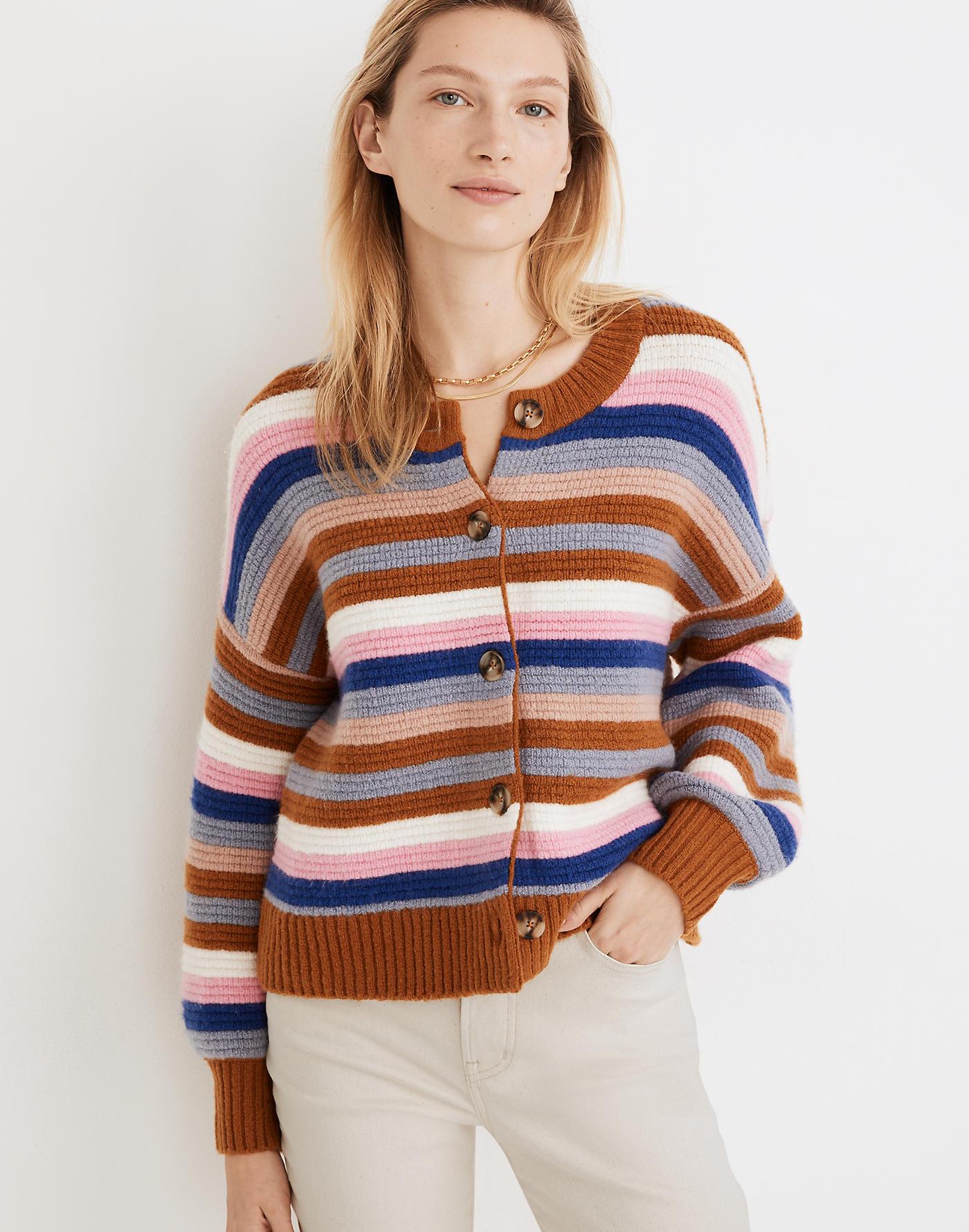 Madewell Striped Springview Cardigan Sweater in Coziest Yarn