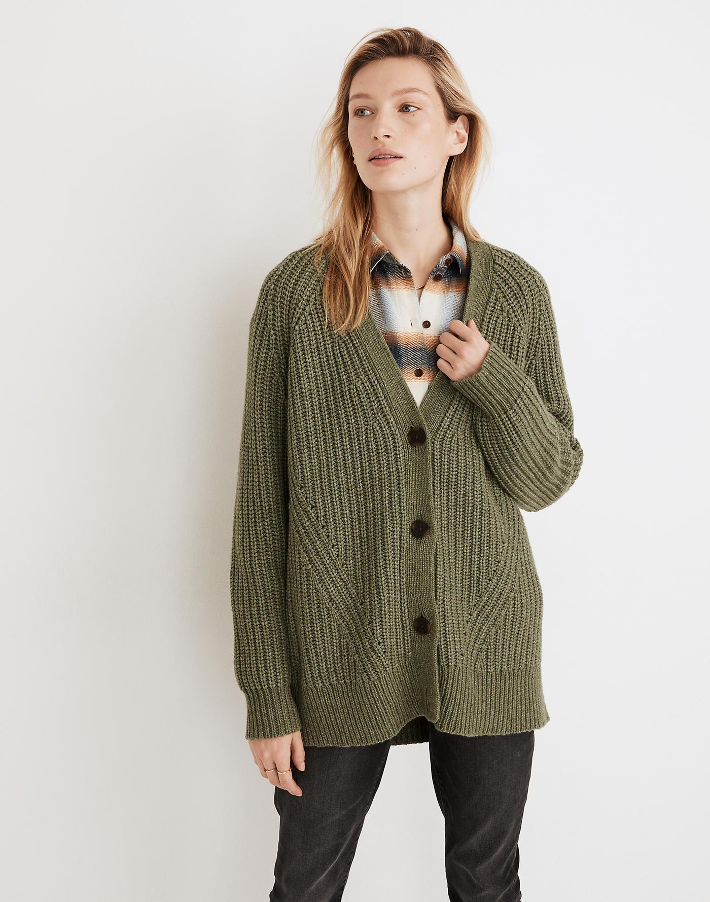 Madewell Holmes Ribbed Cardigan Sweater