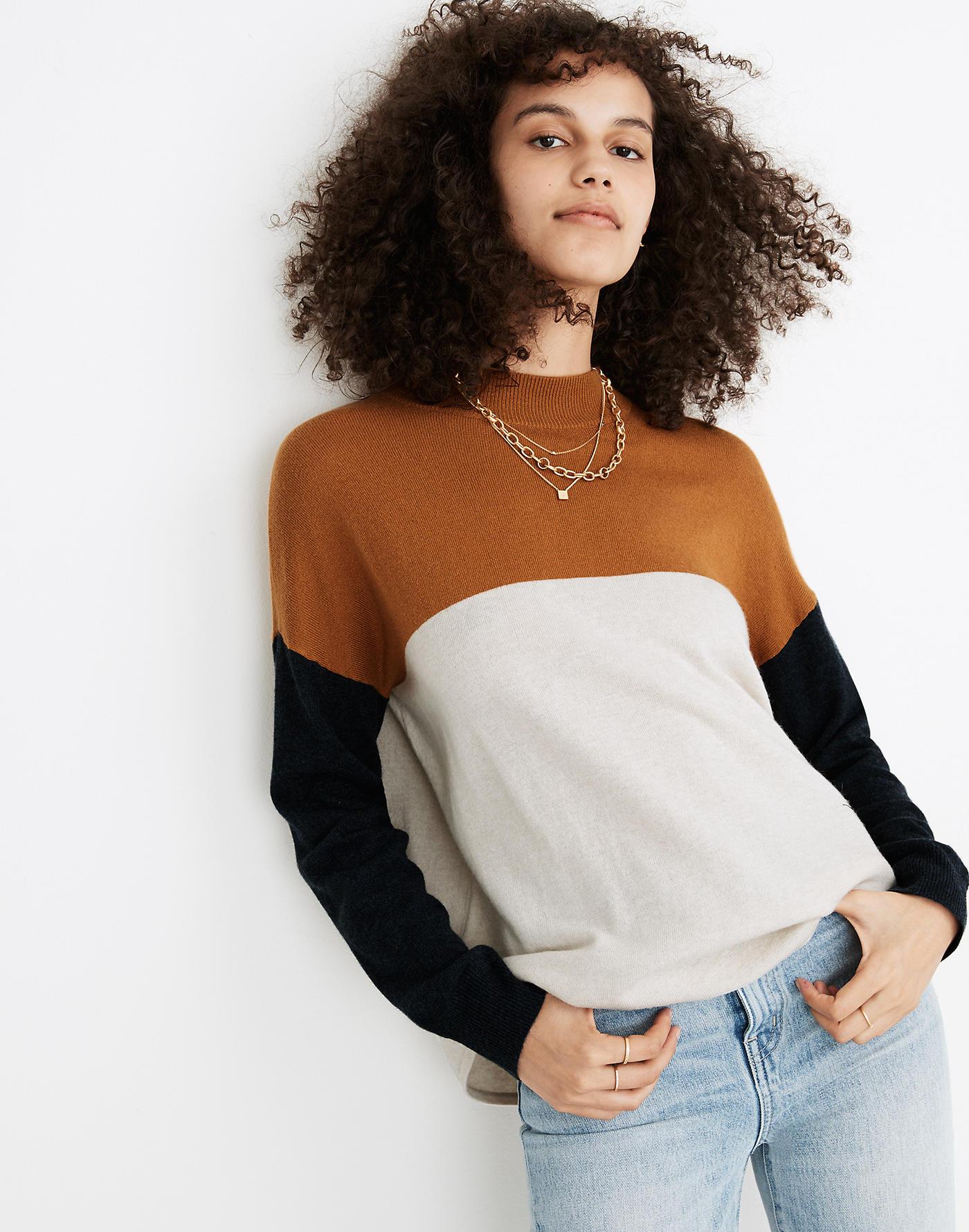 Madewell Colorblock Ashbury Mockneck Sweater