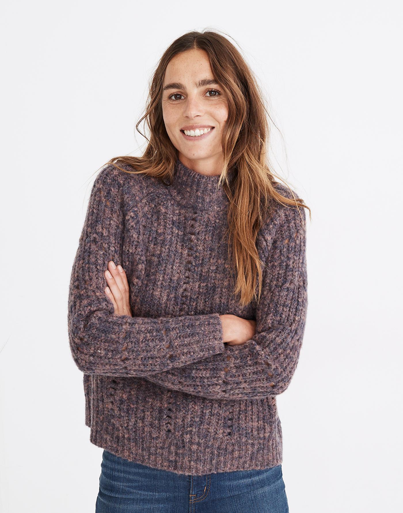 Pointelle Mockneck Pullover Sweater MEDIA