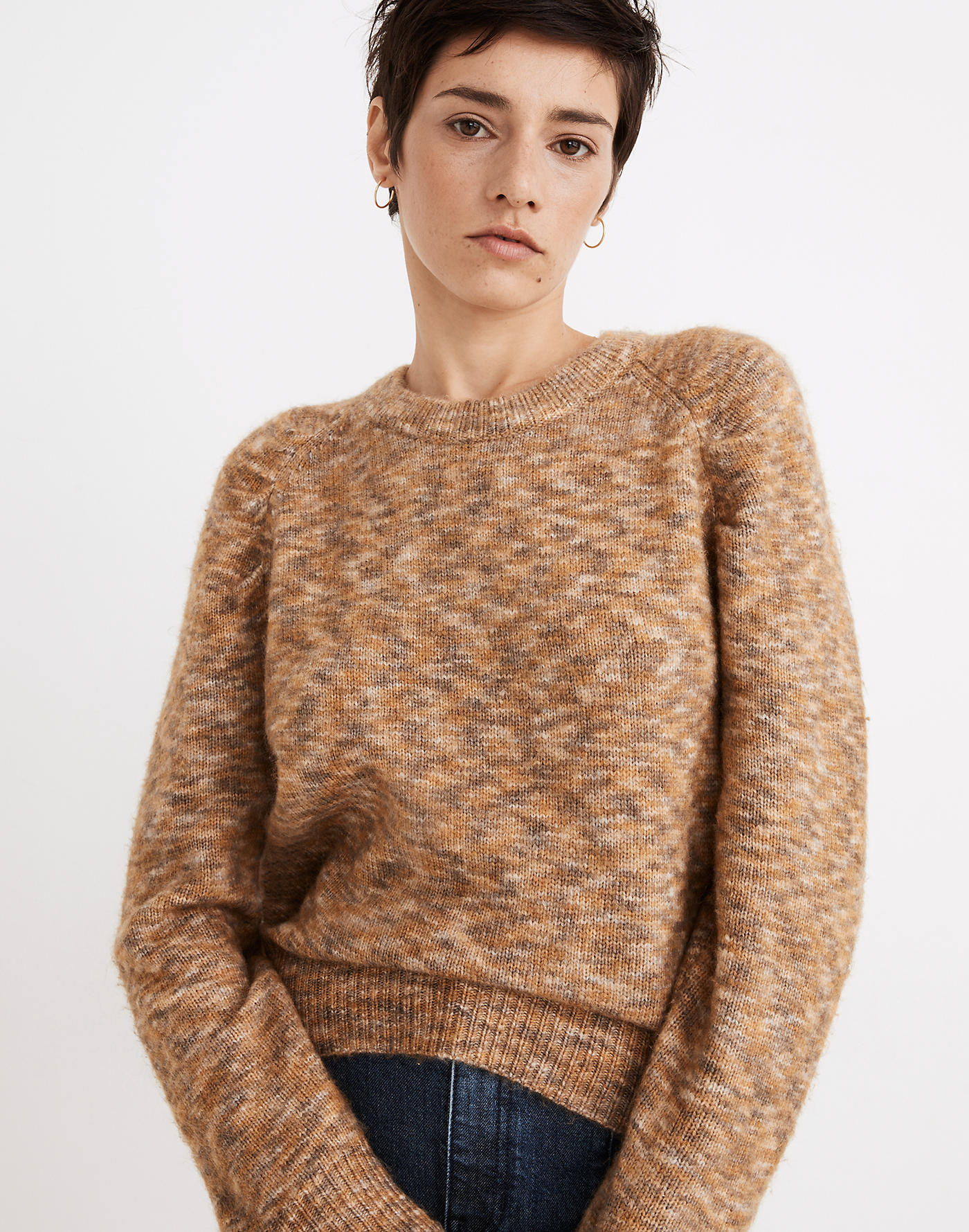 Madewell Space-Dyed Pleat-Sleeve Pullover Sweater