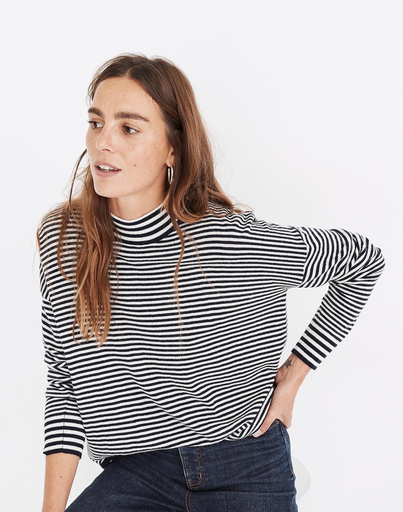 Madewell Stripe-Mix Ashbury Mockneck Sweater