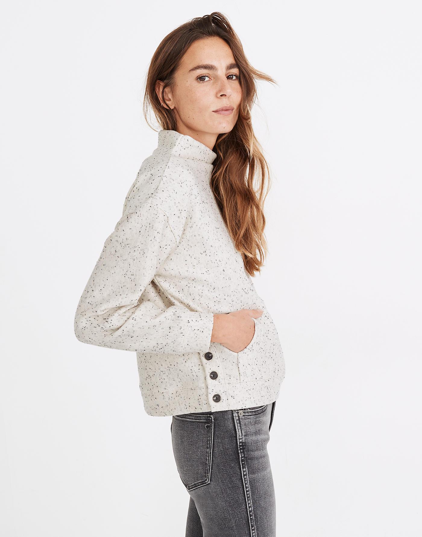 Donegal Mockneck Side-Button Sweatshirt