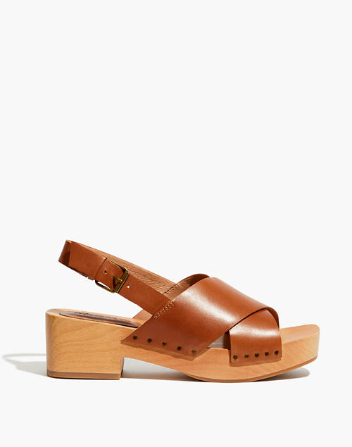 The Farrah Slingback Clog in Vachetta Leather in english saddle