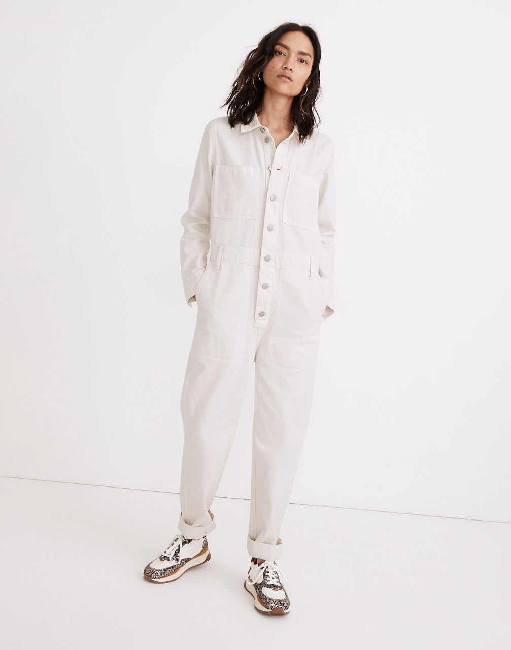 1940s Style Clothing & 40s Fashion Garment-Dyed Relaxed Coverall Jumpsuit $84.99 AT vintagedancer.com