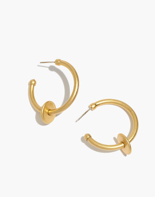 Washer Medium Hoop Earrings in vintage gold