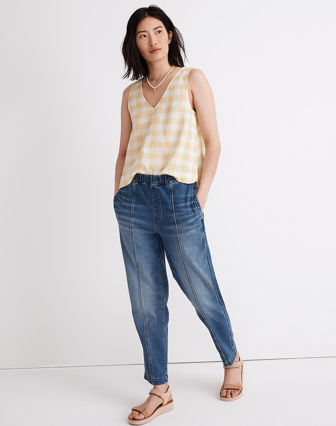 Pull-On Relaxed Jeans in Caville Wash: Seamed Edition in caville wash image 1