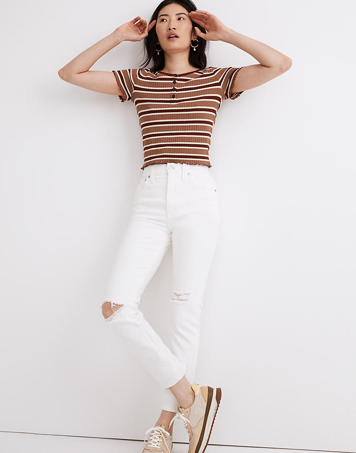 Madewell The Perfect Vintage Crop Jean in Tile White: Knee-Rip Edition