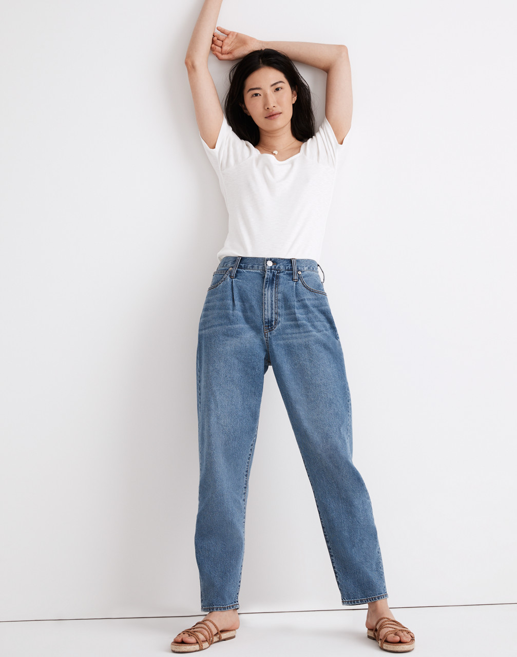 80s Jeans, Pants, Leggings | 90s Jeans Baggy Tapered Jeans in Jewell Wash $98.50 AT vintagedancer.com