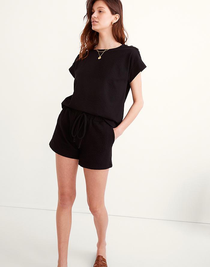 Madewell Seersucker Button-Shoulder Top