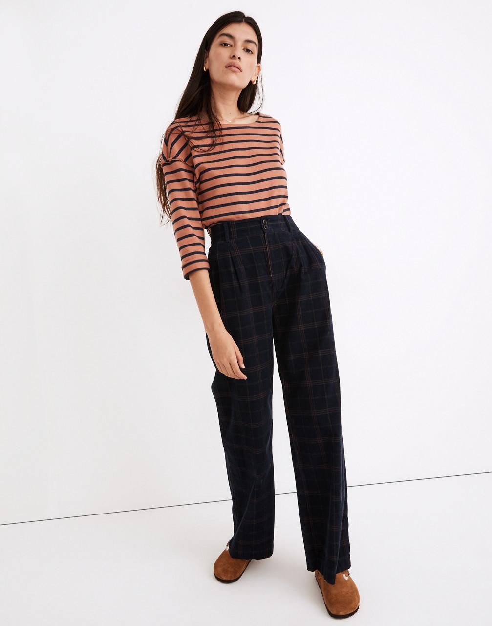 60s Pants, Jeans, Hippie, Flares, Jumpsuits Corduroy Pleated Wide-Leg Pants in Windowpane $118.00 AT vintagedancer.com