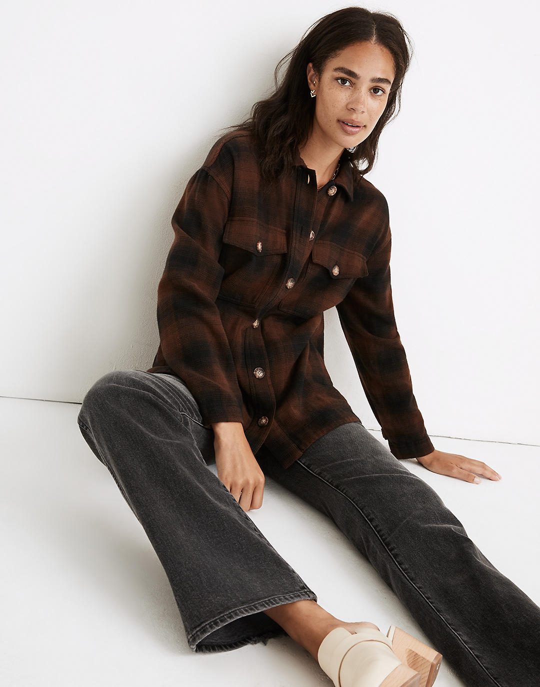 Flannel Shirt-Jacket in Gelston Plaid in rich brown image 2