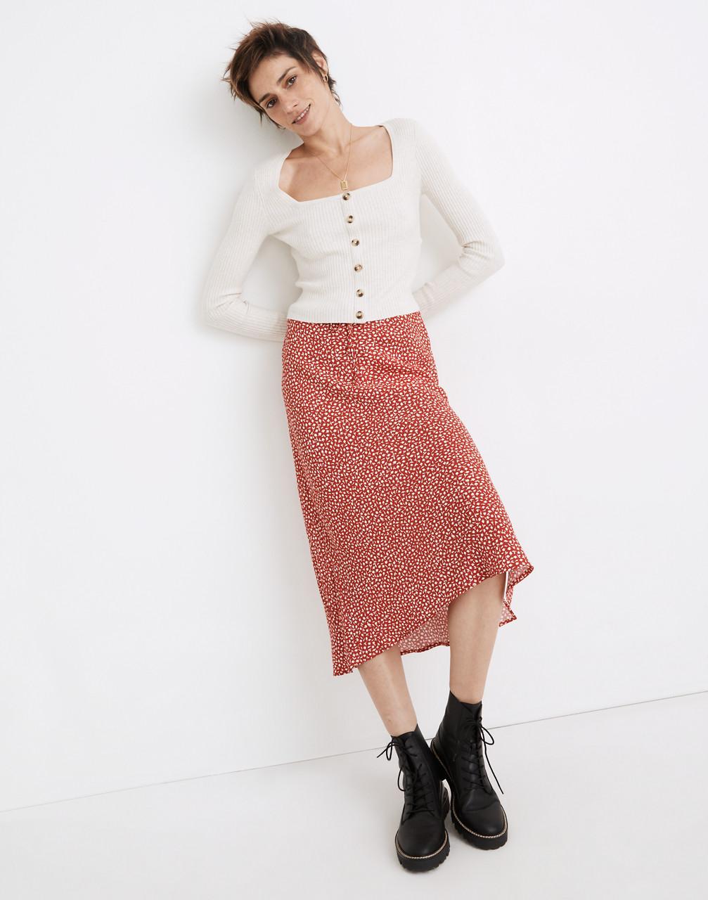 80s Outfit Inspiration, Party Ideas Drawstring Midi Slip Skirt in Park Picnic $98.00 AT vintagedancer.com